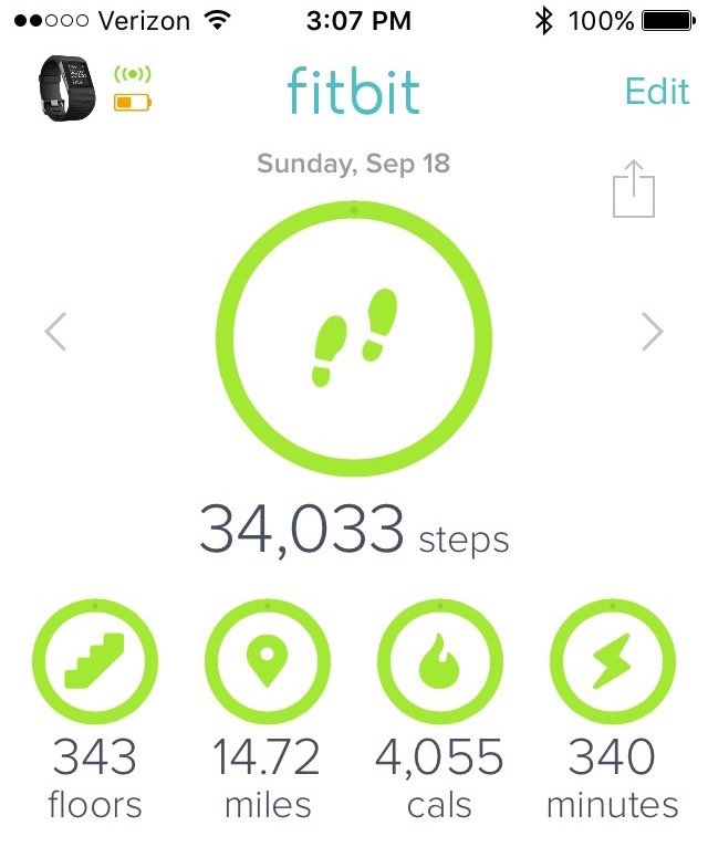A screenshot of Fitbit, showing 34,033 steps.
