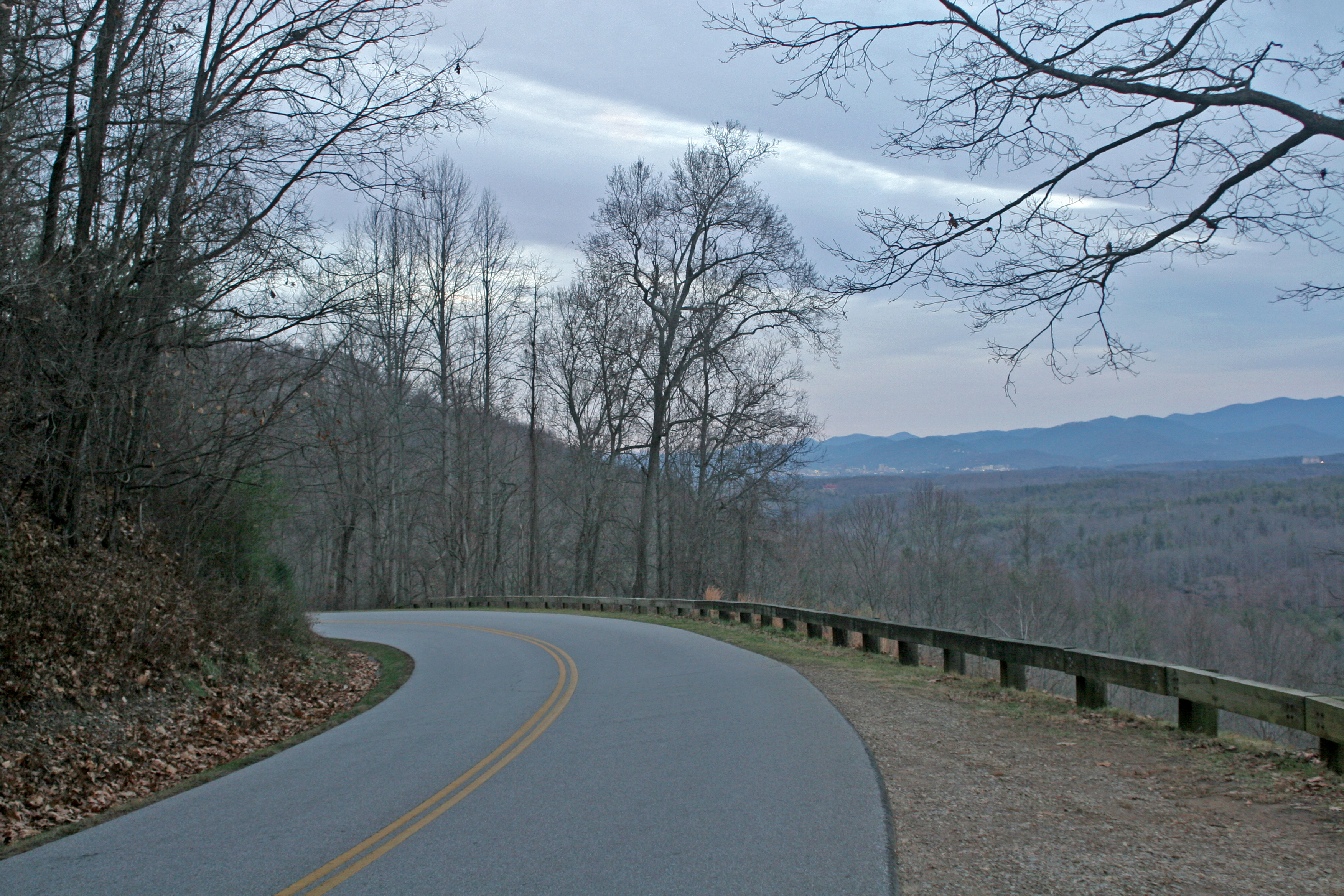 A corner of a road on the Blue Ridge Parkway.